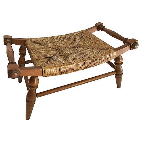 Wood Foot Stool w Bowed Rush Seat