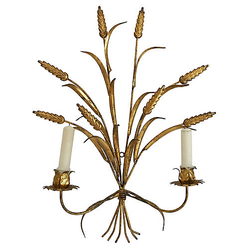 Wheat Sheaf Gilt Tole Sconce