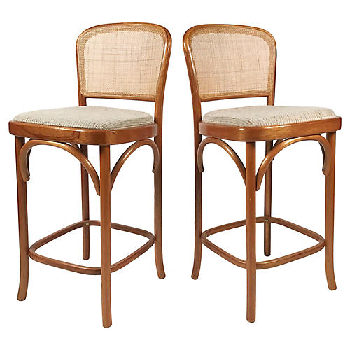 Bentwood and Cane Bar Stools, Pair