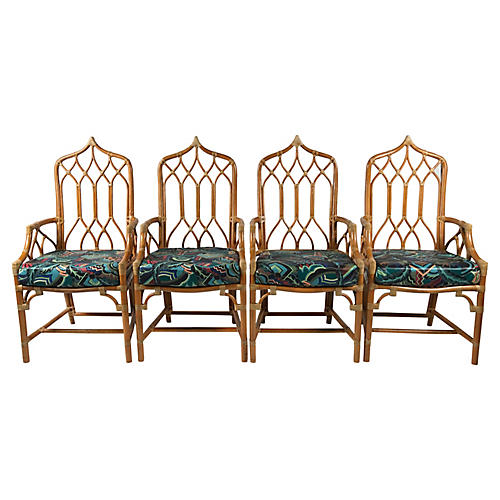 McGuire Rattan Cathedral Chairs, S/4