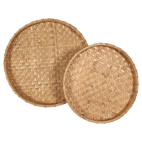 Rattan Nesting Trays, s/2