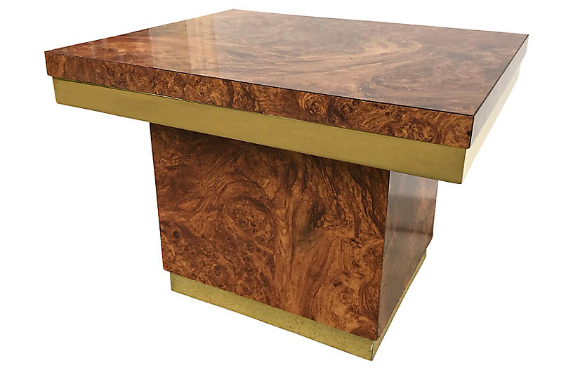 Burl and Brass Accent Table