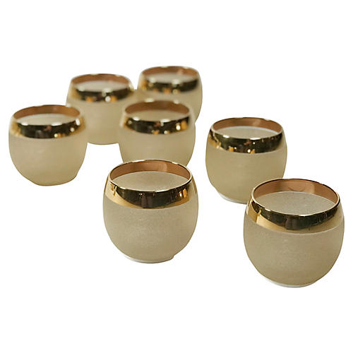 Gold Rim Etched Roly Poly Glasses, S/7
