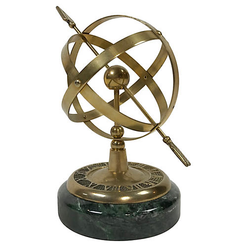 Brass Armillary Sphere on Marble Stand