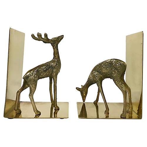 Brass Deer Bookends