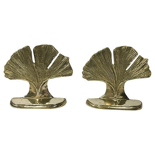 Brass Gingko Leaf Bookends, Pair