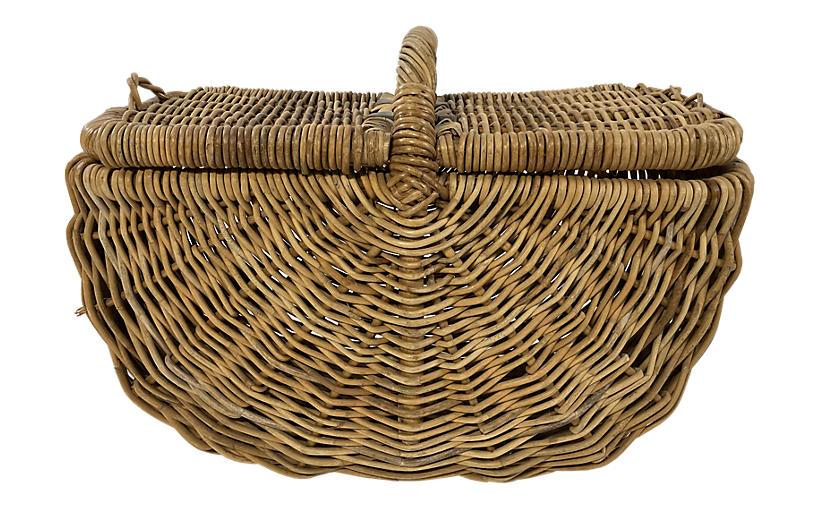Large Lidded Picnic Basket