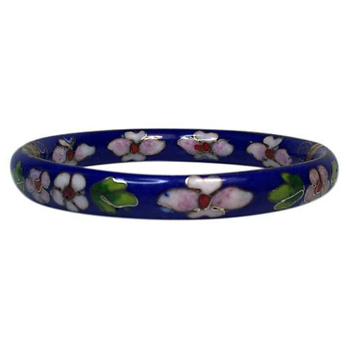 Blue Floral Cloisonné Cuff