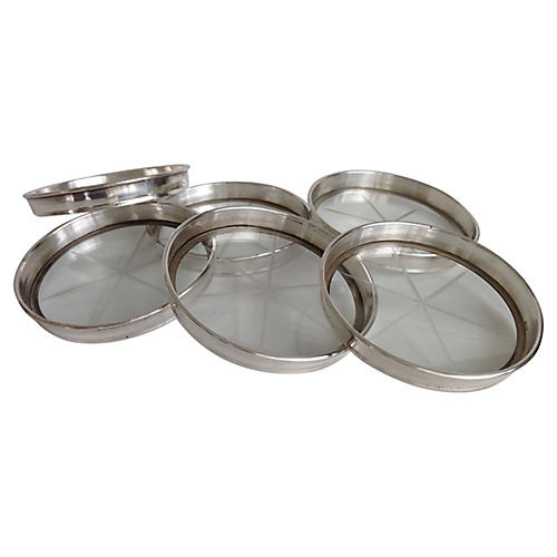 Sterling & Cut Glass Coasters, S/6