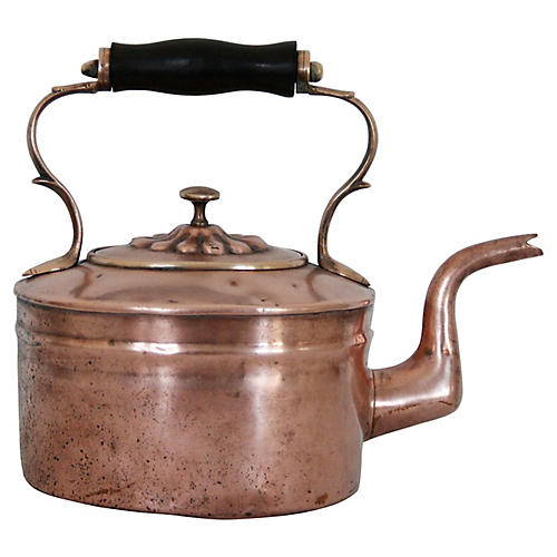 19th-C. English Copper Teakettle