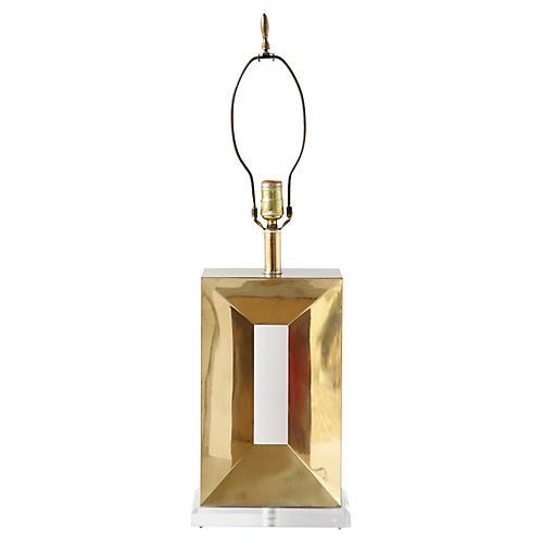 Modern Brass & Lucite Table Lamp