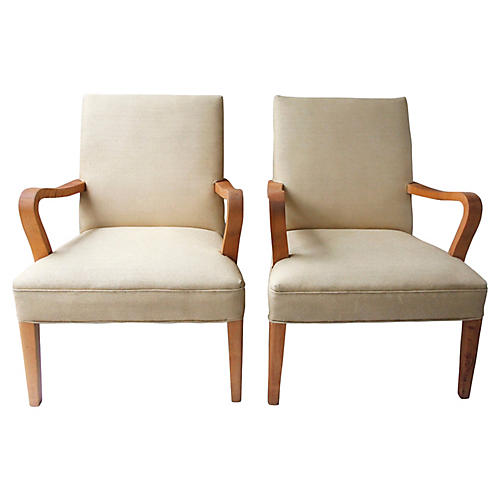 Art Deco-Style Club Chairs, S/2