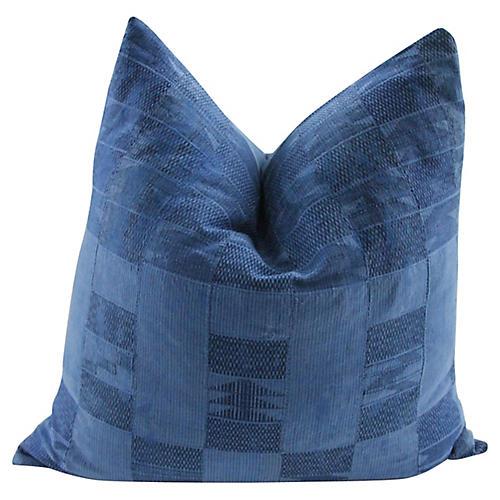 Ivory Coast Blue Mud Cloth Pillow
