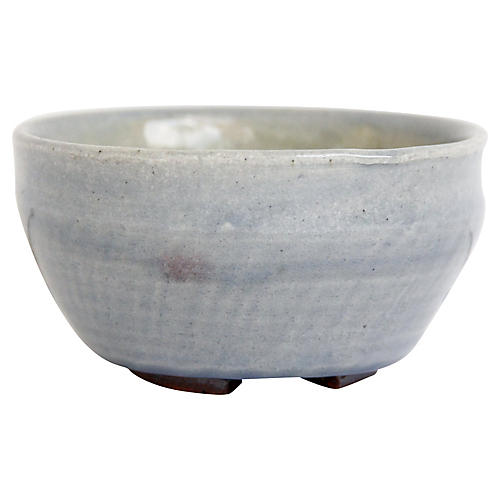 1970s Light Indigo Pottery Bowl