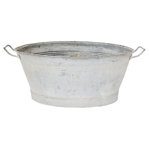 Antique French Zinc Wash Tub