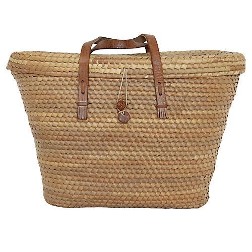 Thai Leather & Rattan Market Basket