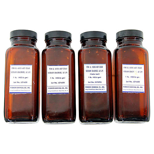 Amber Apothecary Bottles, S/4