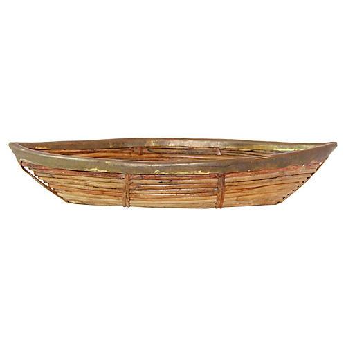 Brass Trim Bamboo Basket