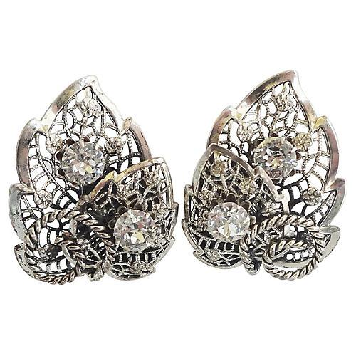 1950s Napier Foliate Paste Earrings