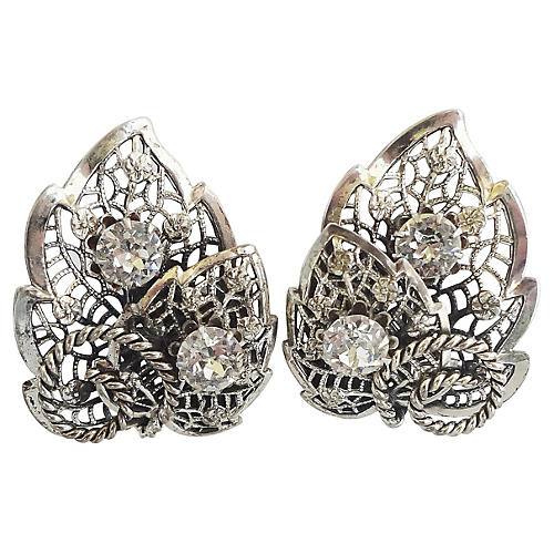 1950s Napier Foliate Paste Earrings