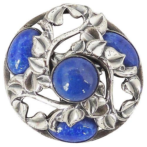 Napier Faux-Lapis Cabochon Domed Pin