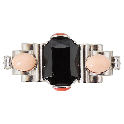 Ferrandis Faux-Onyx & Coral Bar Pin