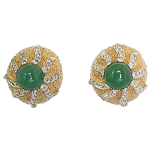 Panetta Cabochon Faux-Emerald Earrings