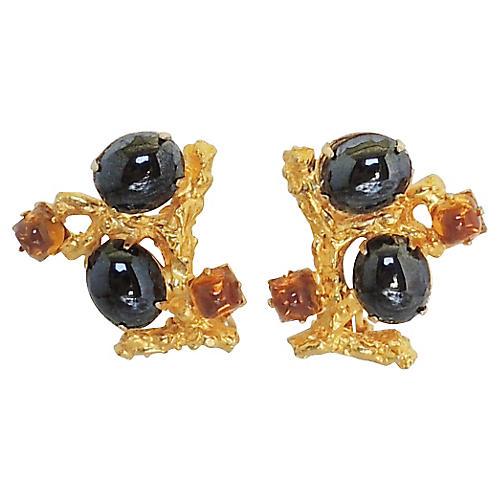 Delillo Faux-Hermatitie Earrings