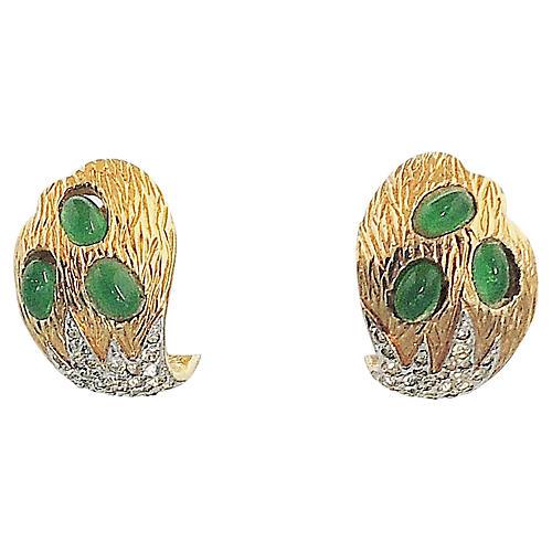 1960s Jomaz Faux-Emerald Earrings