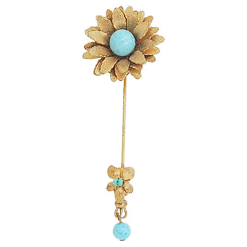 Miriam Haskell Faux-Turquoise Jabot Pin