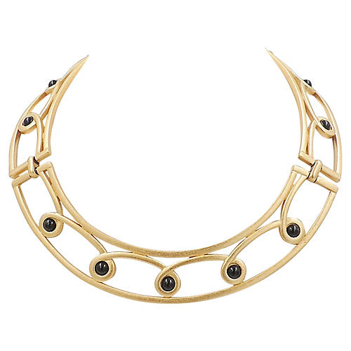 1980s Monet Faux-Onyx Collar Necklace