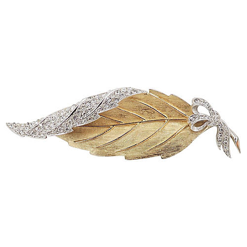 1950s Avon of Belleville Pavé Leaf Pin