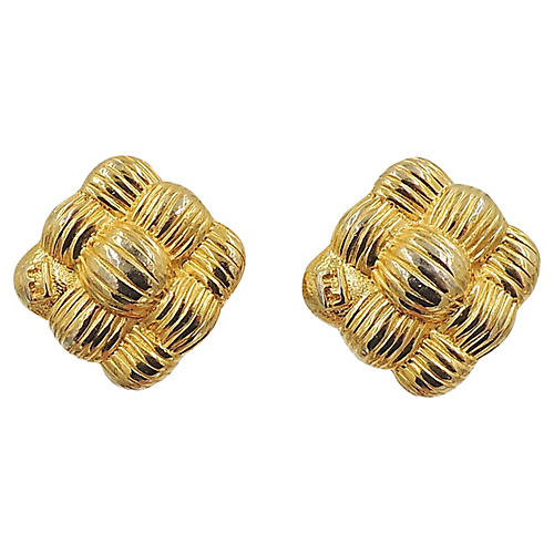 1980s Fendi Goldtone Woven Earrings