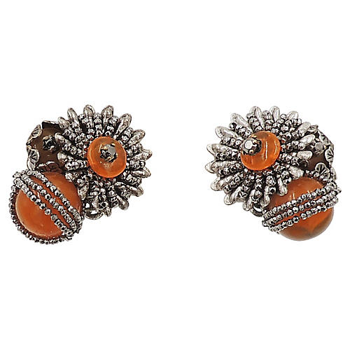 1960s Haskell Faux-Amber Beaded Earrings