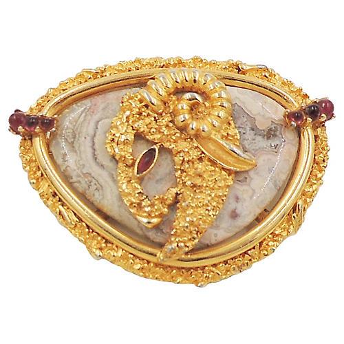 Boucher Aries Faux-Agate Pin