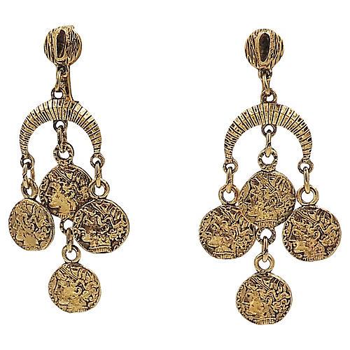 1970s Trifari Faux-Coin Earrings