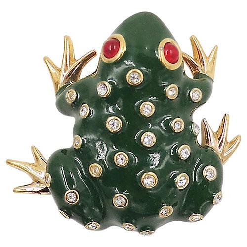 Panetta Enamel & Rhinestone Frog Pin