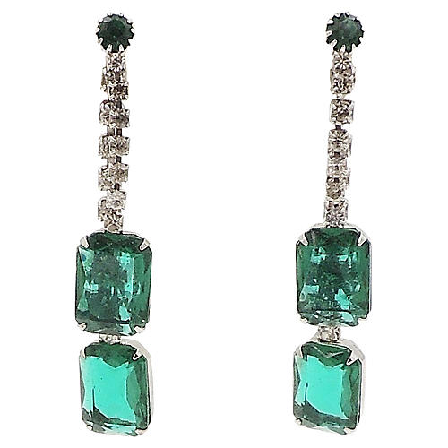 1960s Faux-Emerald Drop Earrings