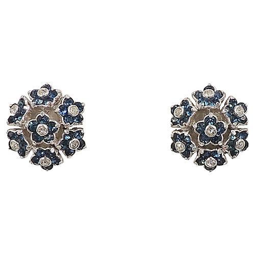 Pennino Rhodium Plate Flower Earrings