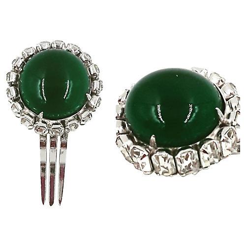 1950s Kramer Faux-Emerald Hair Comb