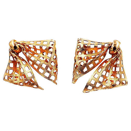 1950s Napier Goldtone Mesh Bow Earrings
