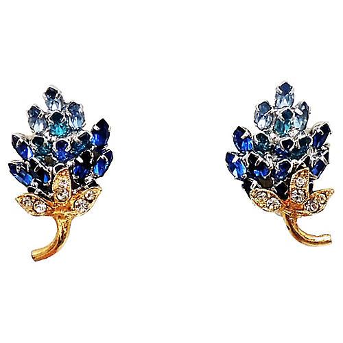1950s Napier Blue Flower Earrings