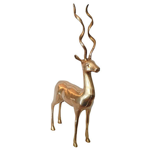 Large Brass Antelope Statue