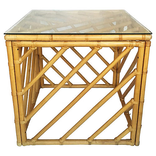 Rattan Cube Table
