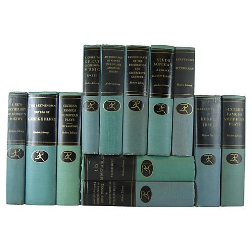 Blue-Green Modern Library, Set of 12