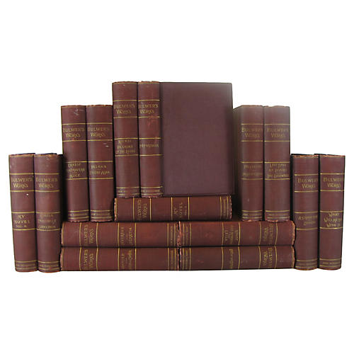Decorative Burgundy Book Set, S/15