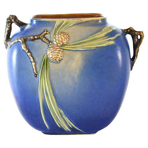 1930s Blue Roseville Pinecone Vase