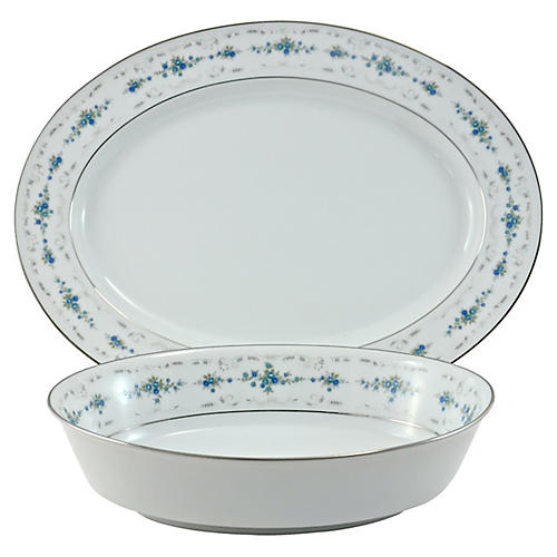 Noritake Floral Bowl & Platter, 2-Pcs