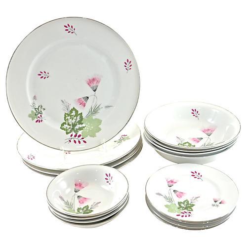Pink Bavarian Place Set, 16-Pcs