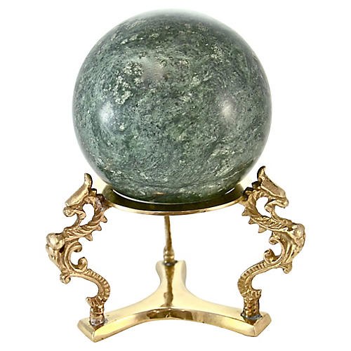 Green Marble Ball w/ Brass Stand
